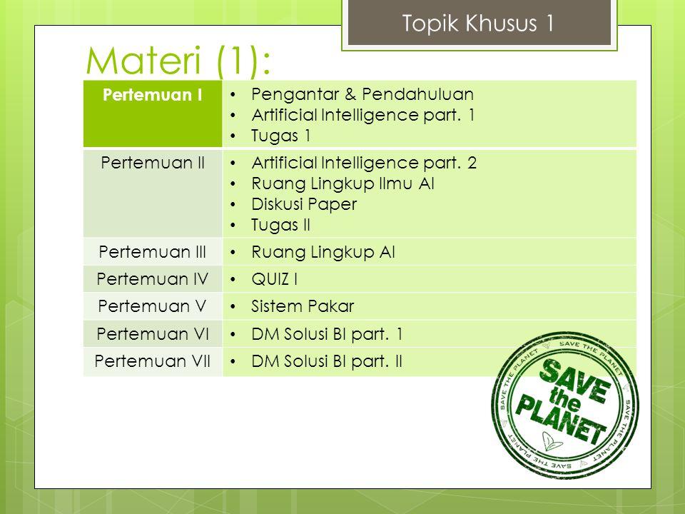 Materi (1): Topik Khusus 1 Pertemuan I Pengantar & Pendahuluan