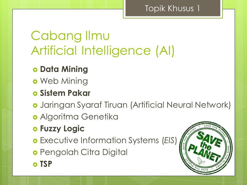 Cabang Ilmu Artificial Intelligence (AI)