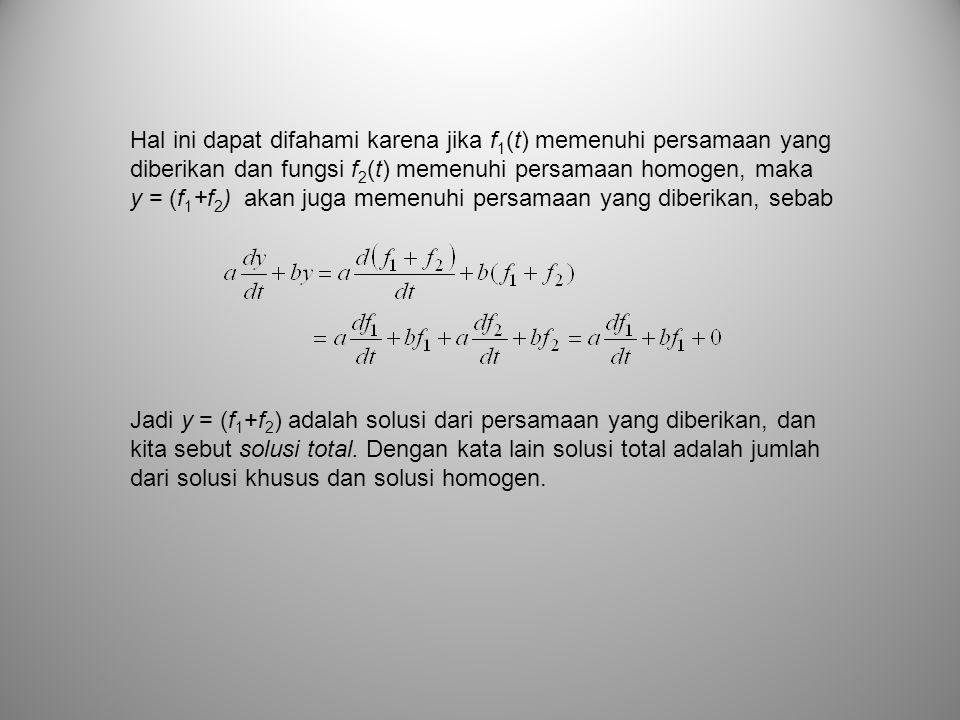 Hal ini dapat difahami karena jika f1(t) memenuhi persamaan yang diberikan dan fungsi f2(t) memenuhi persamaan homogen, maka y = (f1+f2) akan juga memenuhi persamaan yang diberikan, sebab