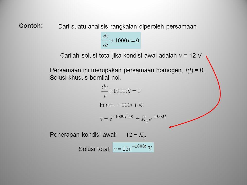 Contoh: Dari suatu analisis rangkaian diperoleh persamaan. Carilah solusi total jika kondisi awal adalah v = 12 V.