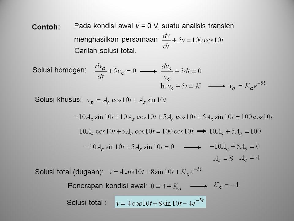 Contoh: Pada kondisi awal v = 0 V, suatu analisis transien. menghasilkan persamaan. Carilah solusi total.