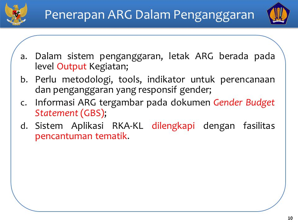 Penerapan ARG Dalam Penganggaran