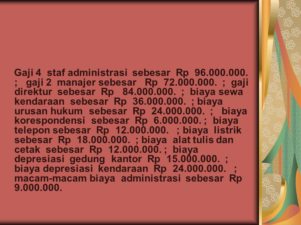 Gaji 4 staf administrasi sebesar Rp 96. 000. 000