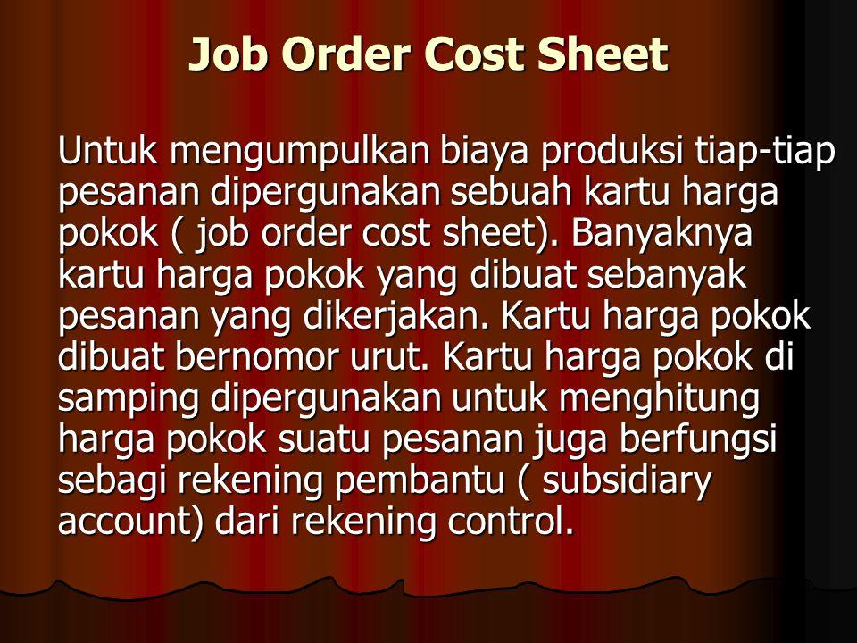 Job Order Cost Sheet