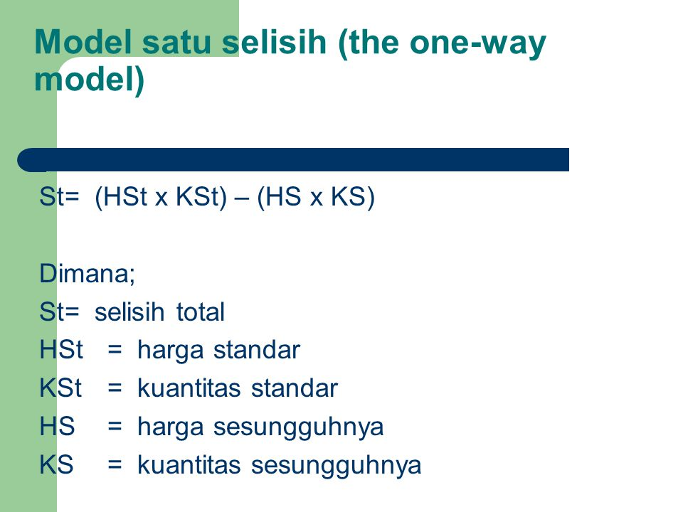Model satu selisih (the one-way model)