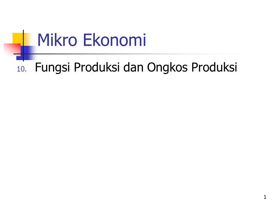 Mikro Ekonomi Fungsi Produksi dan Ongkos Produksi