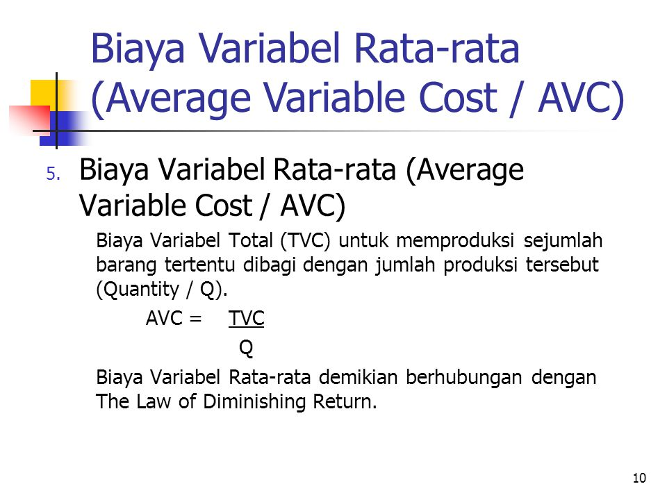 Biaya Variabel Rata-rata (Average Variable Cost / AVC)