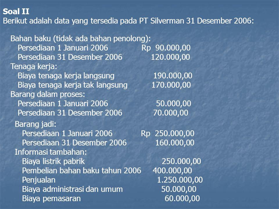 Soal II Berikut adalah data yang tersedia pada PT Silverman 31 Desember 2006: Bahan baku (tidak ada bahan penolong):
