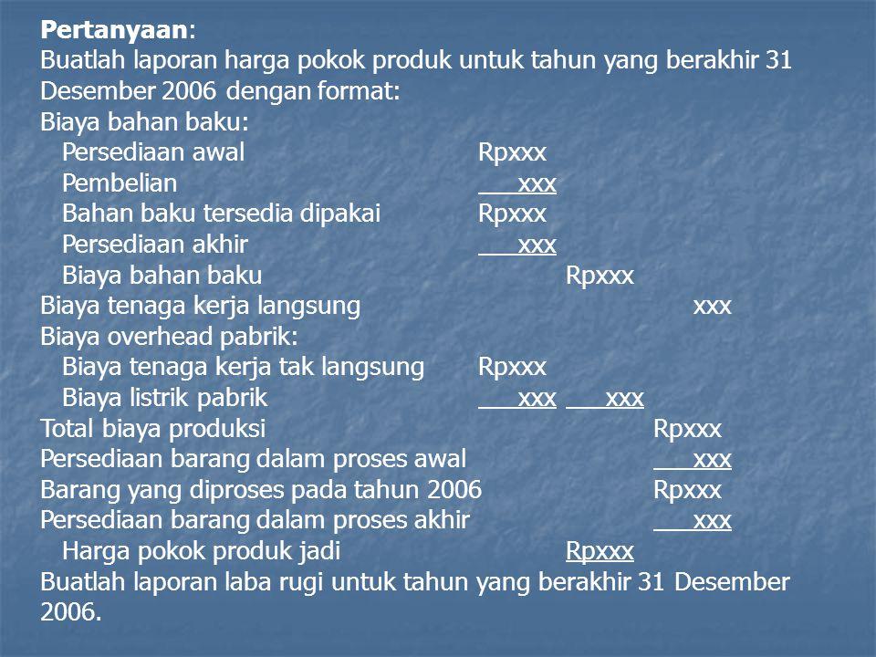 Pertanyaan: Buatlah laporan harga pokok produk untuk tahun yang berakhir 31 Desember 2006 dengan format: