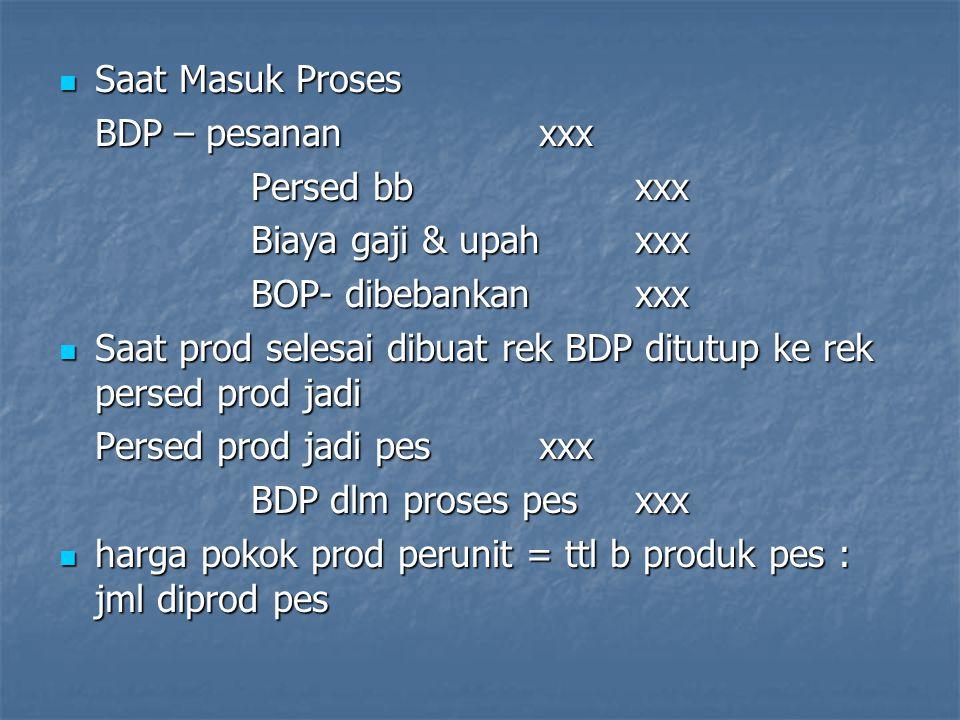 Saat Masuk Proses BDP – pesanan xxx. Persed bb xxx. Biaya gaji & upah xxx. BOP- dibebankan xxx.