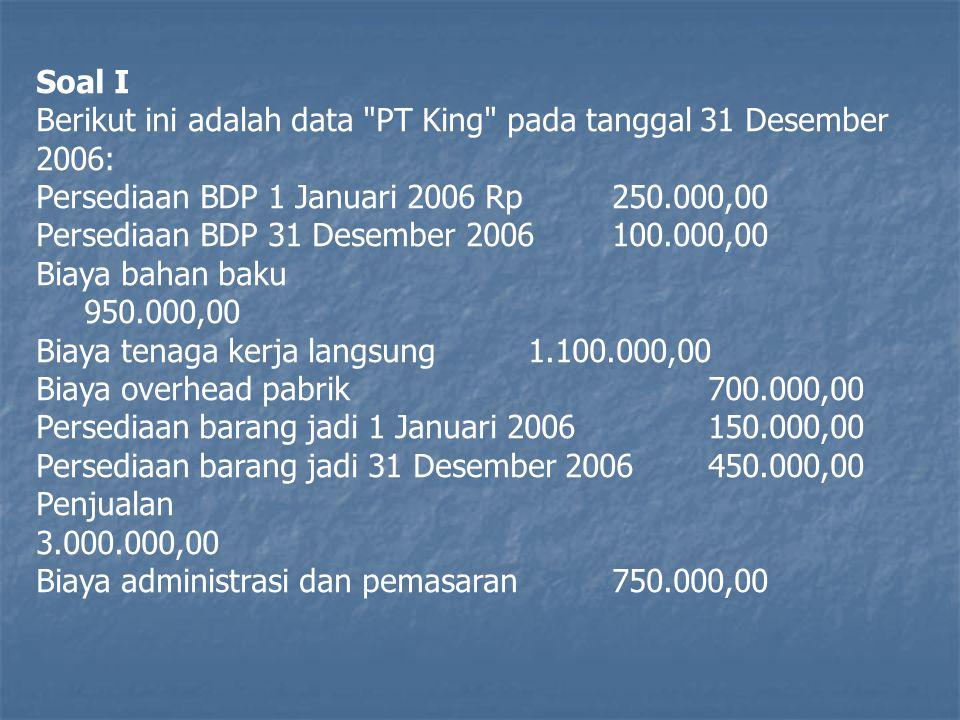 Soal I Berikut ini adalah data PT King pada tanggal 31 Desember 2006: Persediaan BDP 1 Januari 2006 Rp 250.000,00.