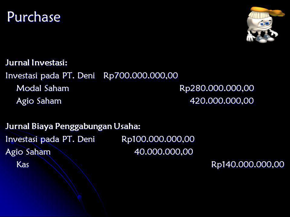 Purchase Jurnal Investasi: Investasi pada PT. Deni Rp700.000.000,00
