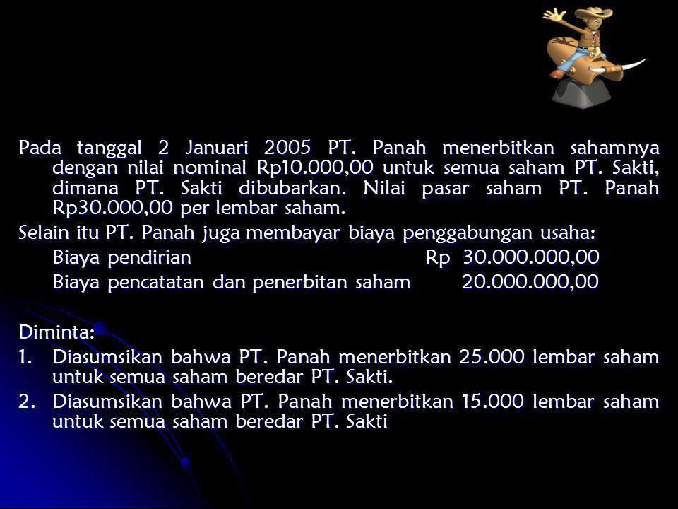 Pada tanggal 2 Januari 2005 PT