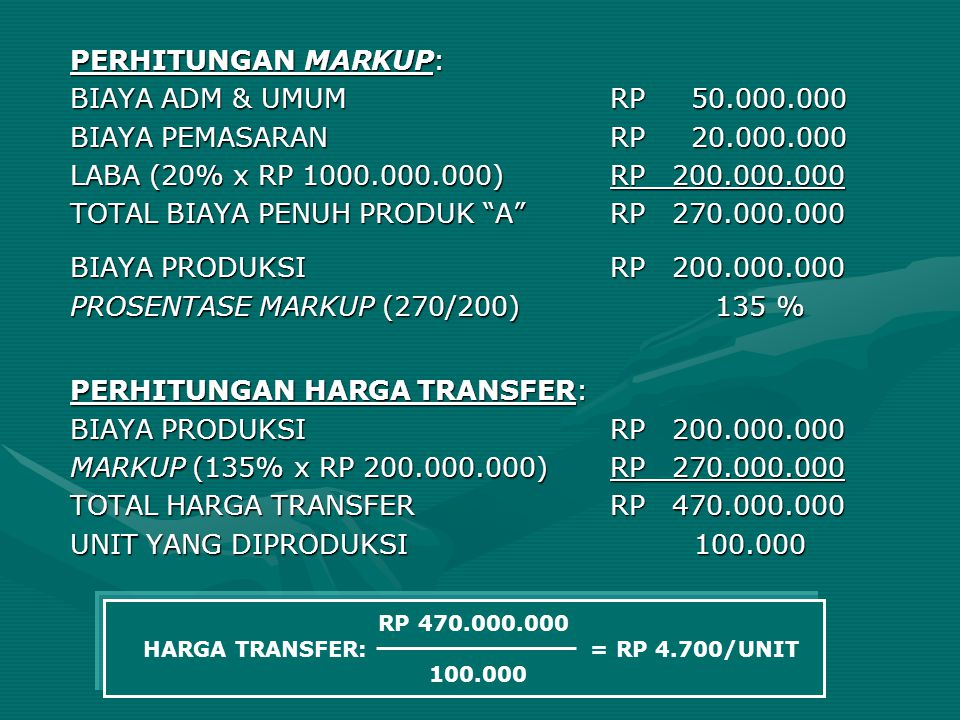 TOTAL BIAYA PENUH PRODUK A RP 270.000.000
