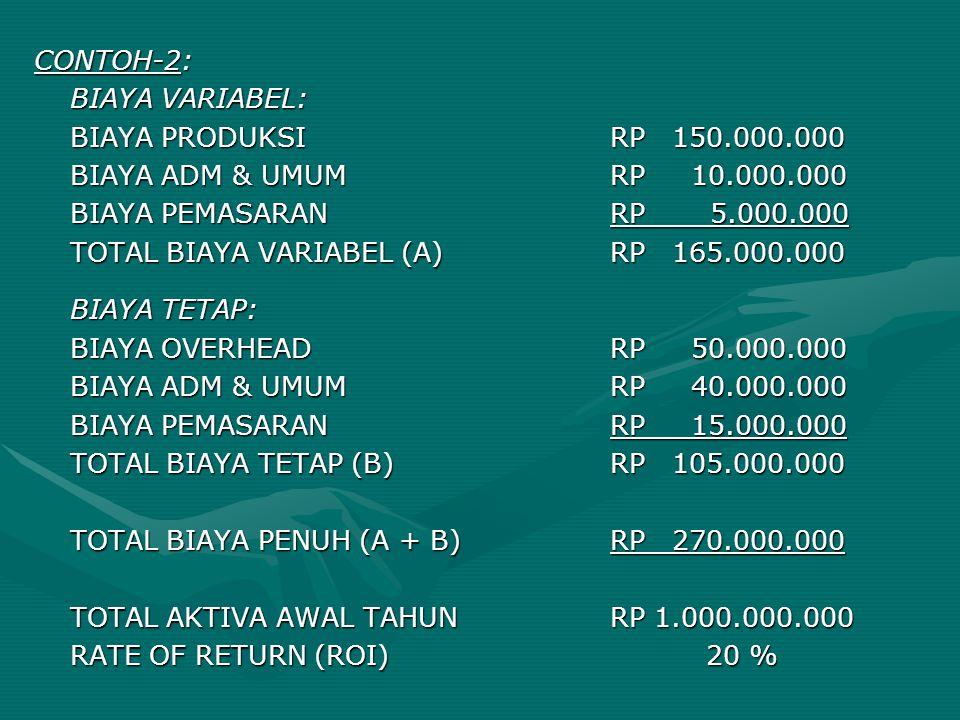 CONTOH-2: BIAYA VARIABEL: BIAYA PRODUKSI RP 150.000.000. BIAYA ADM & UMUM RP 10.000.000.