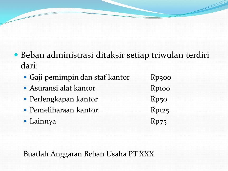Beban administrasi ditaksir setiap triwulan terdiri dari: