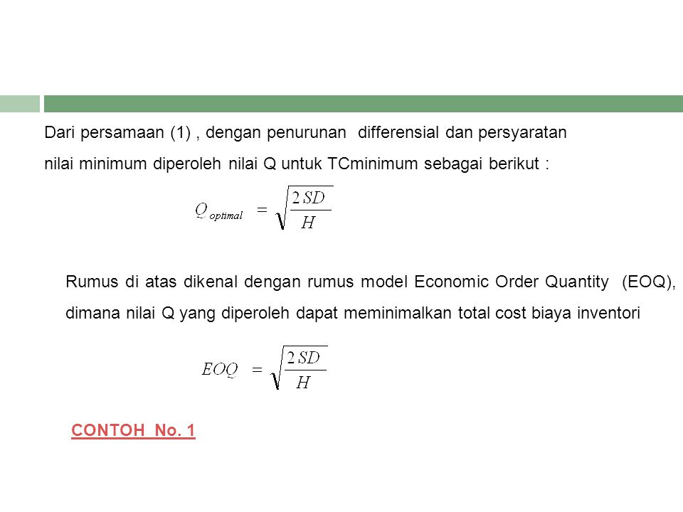 Dari persamaan (1) , dengan penurunan differensial dan persyaratan