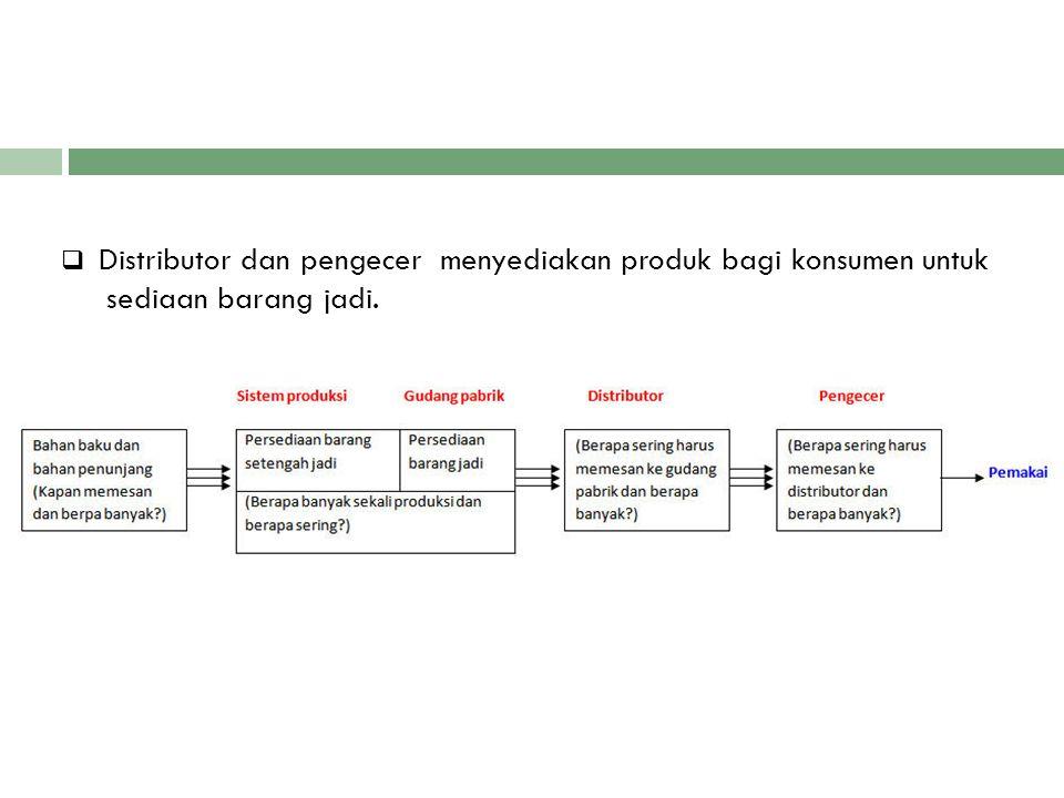 Distributor dan pengecer menyediakan produk bagi konsumen untuk
