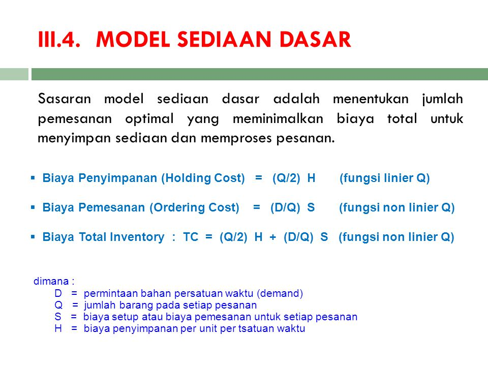 III.4. MODEL SEDIAAN DASAR