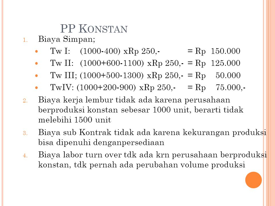 PP Konstan Biaya Simpan; Tw I: (1000-400) xRp 250,- = Rp 150.000