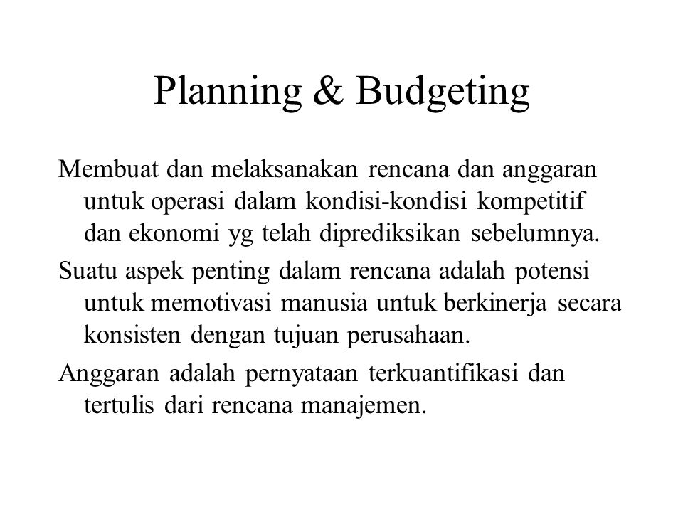 Planning & Budgeting