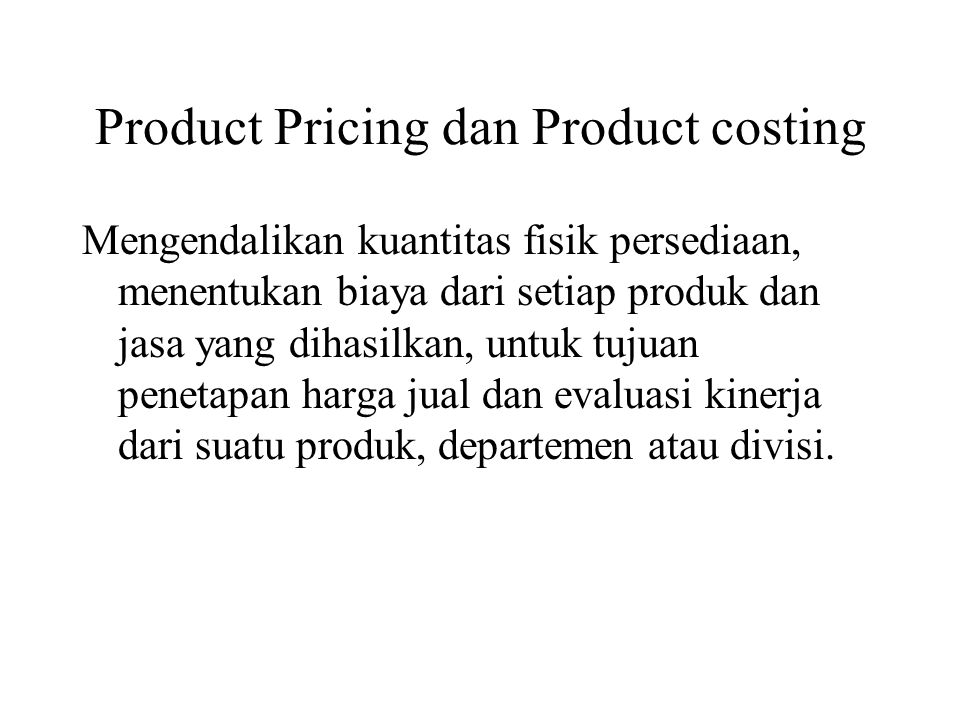 Product Pricing dan Product costing