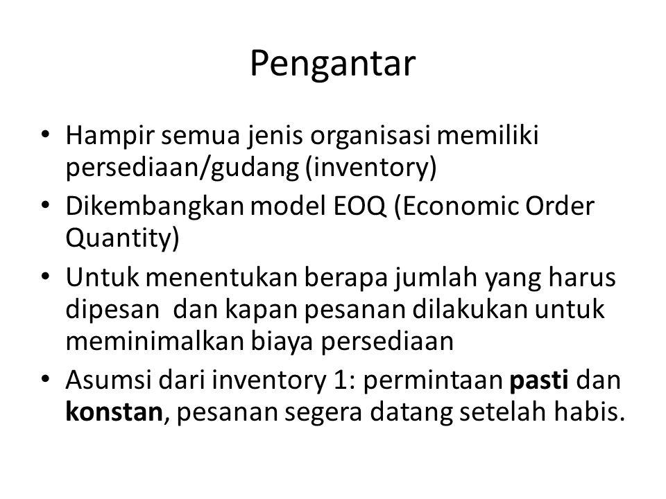 Pengantar Hampir semua jenis organisasi memiliki persediaan/gudang (inventory) Dikembangkan model EOQ (Economic Order Quantity)