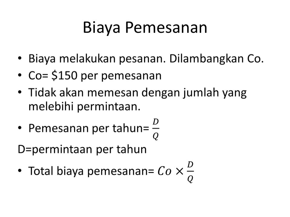 Biaya Pemesanan
