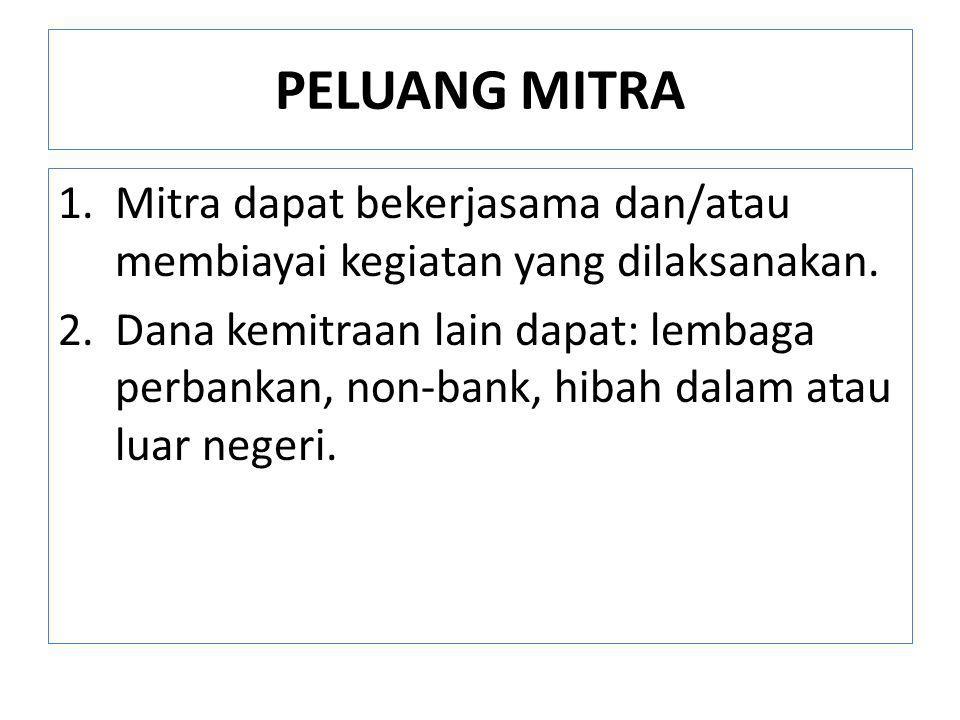 PELUANG MITRA Mitra dapat bekerjasama dan/atau membiayai kegiatan yang dilaksanakan.