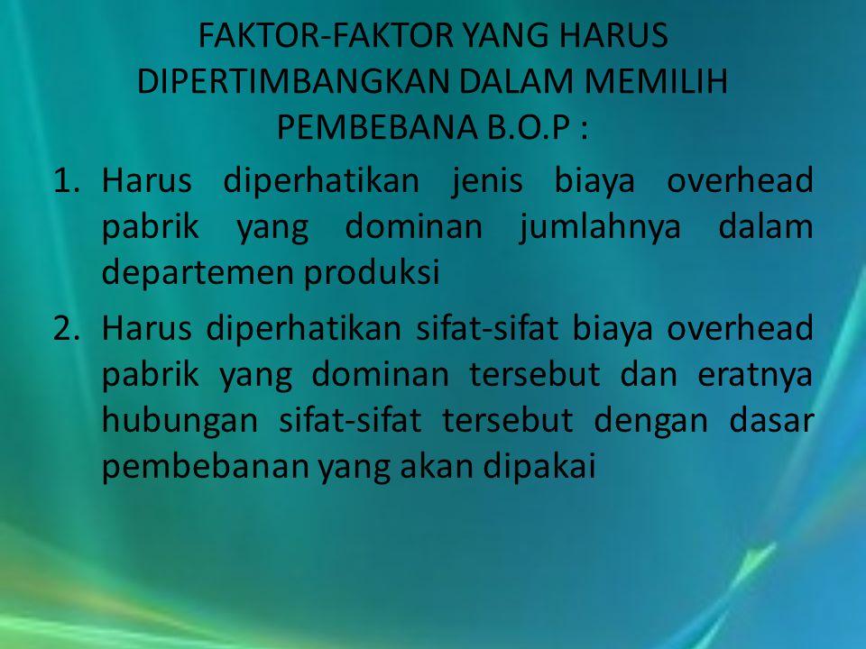 FAKTOR-FAKTOR YANG HARUS DIPERTIMBANGKAN DALAM MEMILIH PEMBEBANA B. O