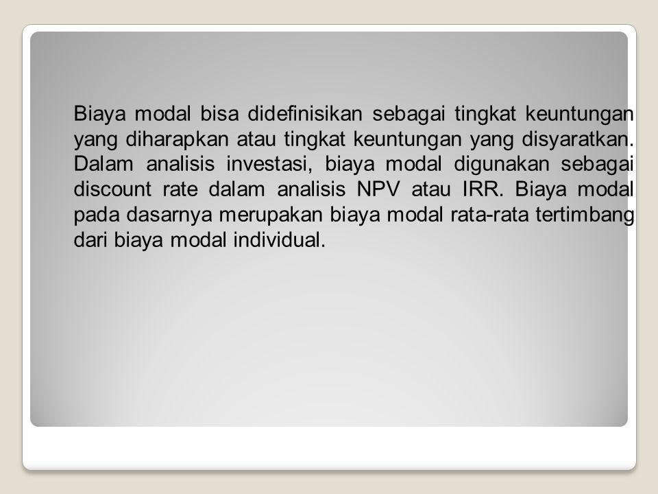 Biaya modal bisa didefinisikan sebagai tingkat keuntungan yang diharapkan atau tingkat keuntungan yang disyaratkan.