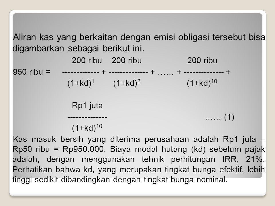 Aliran kas yang berkaitan dengan emisi obligasi tersebut bisa digambarkan sebagai berikut ini.
