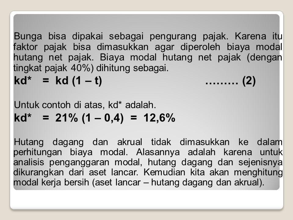 kd* = kd (1 – t) ……… (2) kd* = 21% (1 – 0,4) = 12,6%