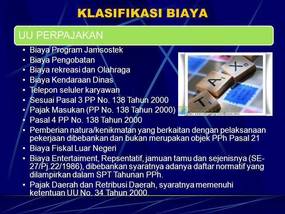 KLASIFIKASI BIAYA UU PERPAJAKAN Biaya Program Jamsostek