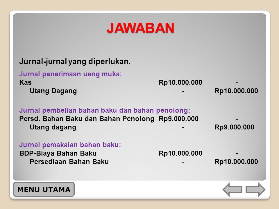 JAWABAN Jurnal-jurnal yang diperlukan. Jurnal penerimaan uang muka: