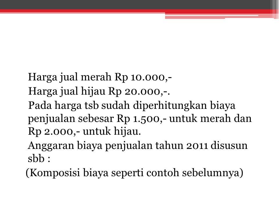 Harga jual merah Rp 10.000,- Harga jual hijau Rp 20.000,-.