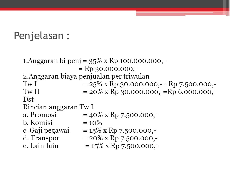 Penjelasan : 1.Anggaran bi penj = 35% x Rp 100.000.000,-