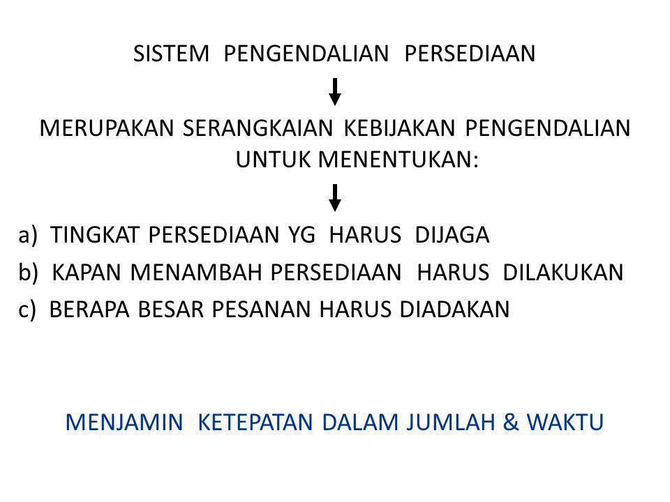 SISTEM PENGENDALIAN PERSEDIAAN MERUPAKAN SERANGKAIAN KEBIJAKAN PENGENDALIAN UNTUK MENENTUKAN: a) TINGKAT PERSEDIAAN YG HARUS DIJAGA b) KAPAN MENAMBAH PERSEDIAAN HARUS DILAKUKAN c) BERAPA BESAR PESANAN HARUS DIADAKAN MENJAMIN KETEPATAN DALAM JUMLAH & WAKTU