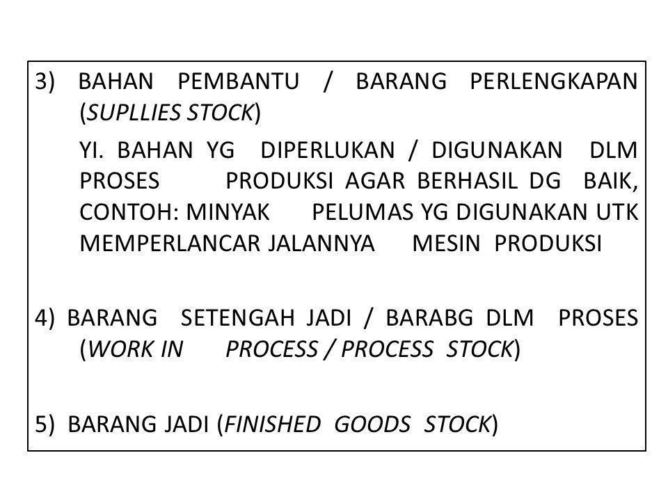3) BAHAN PEMBANTU / BARANG PERLENGKAPAN (SUPLLIES STOCK) YI
