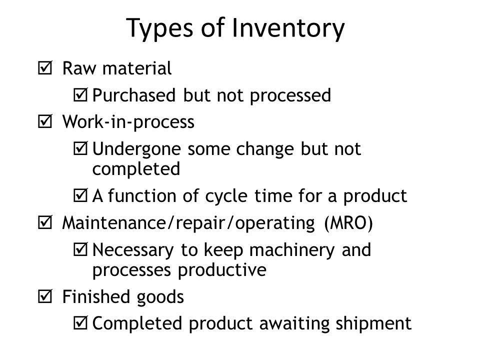 Types of Inventory Raw material Purchased but not processed