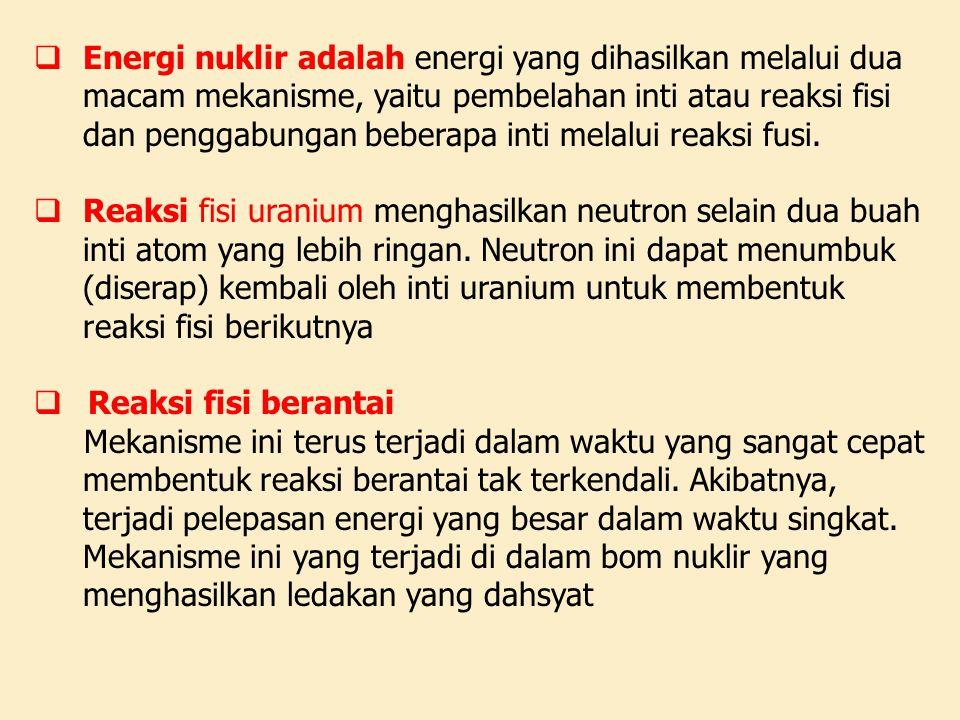 Energi nuklir adalah energi yang dihasilkan melalui dua macam mekanisme, yaitu pembelahan inti atau reaksi fisi dan penggabungan beberapa inti melalui reaksi fusi.