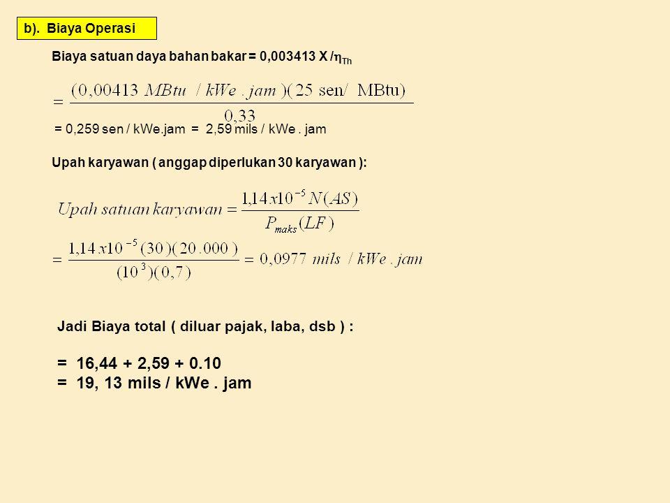 b). Biaya Operasi Biaya satuan daya bahan bakar = 0,003413 X /Th. = 0,259 sen / kWe.jam = 2,59 mils / kWe . jam.