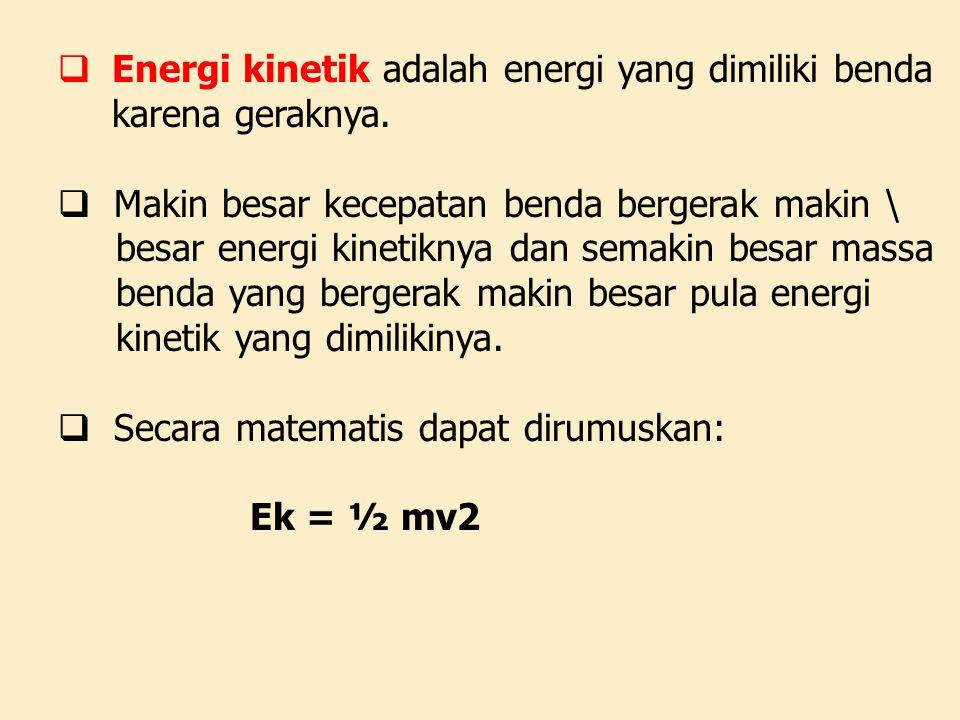 Energi kinetik adalah energi yang dimiliki benda