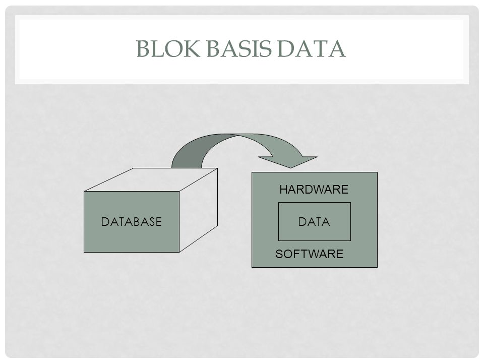 Blok Basis Data HARDWARE DATABASE DATA SOFTWARE