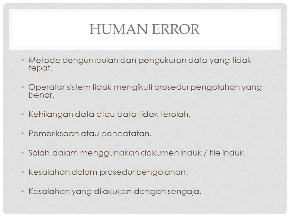 Human Error Metode pengumpulan dan pengukuran data yang tidak tepat.