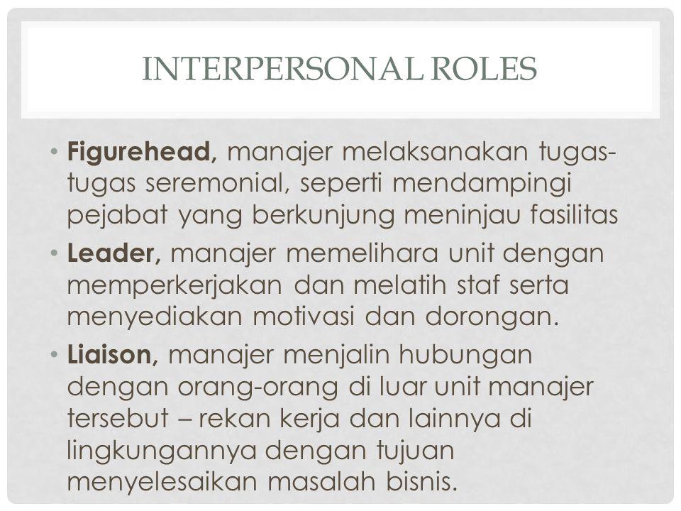 INTERPERSONAL ROLES Figurehead, manajer melaksanakan tugas-tugas seremonial, seperti mendampingi pejabat yang berkunjung meninjau fasilitas.