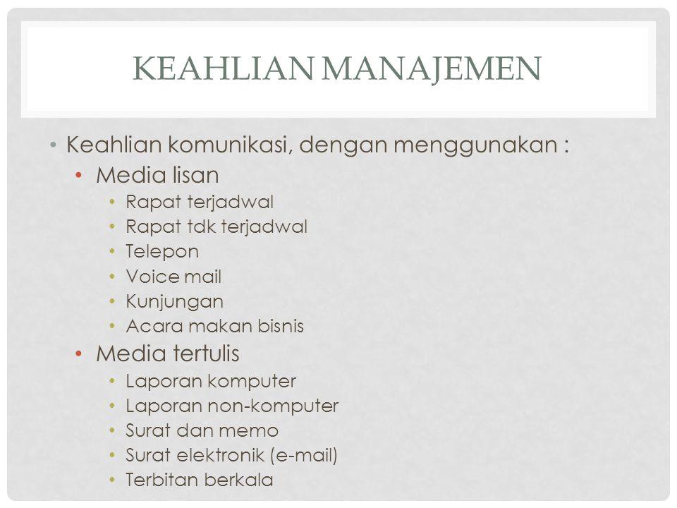 Keahlian Manajemen Keahlian komunikasi, dengan menggunakan :