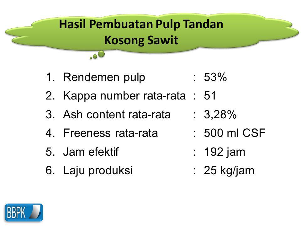 Hasil Pembuatan Pulp Tandan Kosong Sawit
