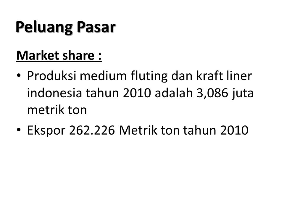 Peluang Pasar Market share :