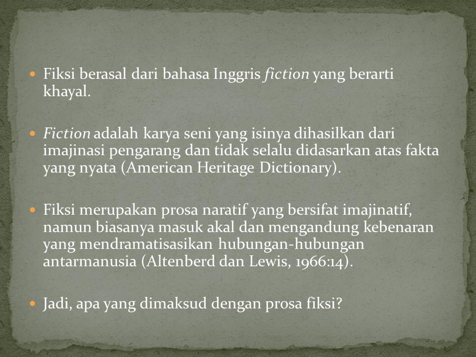 Fiksi berasal dari bahasa Inggris fiction yang berarti khayal.